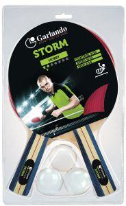 Garlando Set da Ping Pong con 2 racchette mod. Storm qualità 2 stelle ed una confezione da 3 palline 1 stella