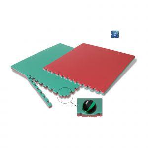 TATAMI JUDO FLEX BICOLORE ROSSO/VERDE Dimensioni 100x100x4 cm - 3 strati con 3 bordi dritti