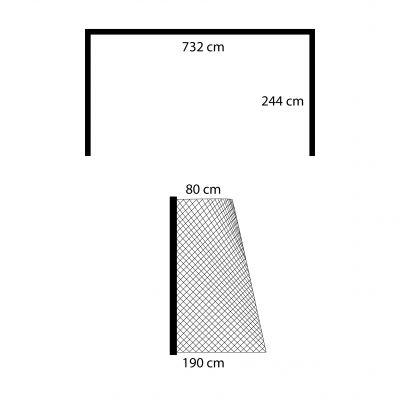 RETE CALCIO ANNODATA 7.50X2.50 MT Regolamentare in corda HDPE da 2,8 mm trattata contro raggi UV - Dimensioni 742x250 cm