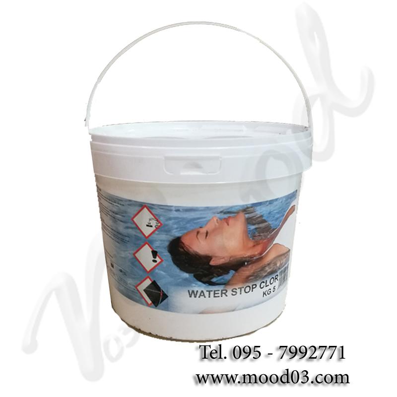 WATER STOP CLOR in Secchio da 5 kg - Neutralizzante piscina in polvere per ridurre rapidamente il cloro in eccesso