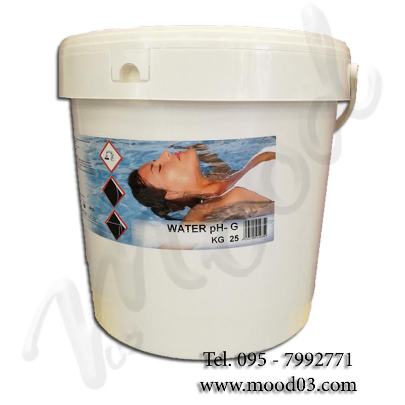 WATER PH- Granulare in SECCHIO da 25 kg - Prodotto a base di solfato acido di sodio per la RIDUZIONE del Ph dell' acqua