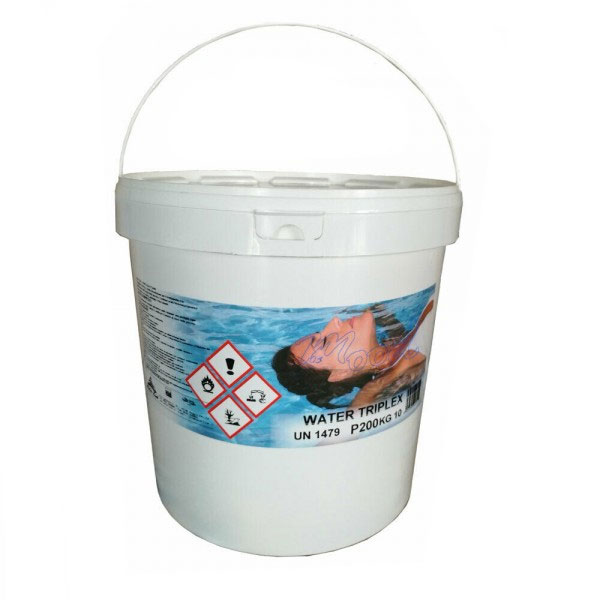 WATER TRIPLEX Secchio da 10 kg Multifunzione - 50 pastiglie da 200 gr -Tripla Azione: CLORANTE, ANTIALGA e FLOCCULANTE