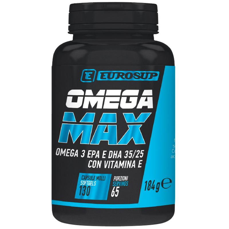 OMEGA MAX 1000 Barattolo da 130 softgel - Integratore di acidi grassi Omega 3 EPA e DHA ad altissima concentrazione