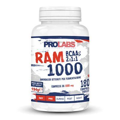 RAM 1000 Barattolo da 180 cpr - Integratore alimentare di aminoacidi ramificati (BCAA) con rapporto 2:1:1 bilanciato