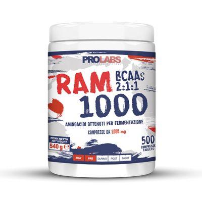 RAM 1000 Barattolo da 500 cpr - Integratore alimentare di aminoacidi ramificati (BCAA) con rapporto 2:1:1 bilanciato