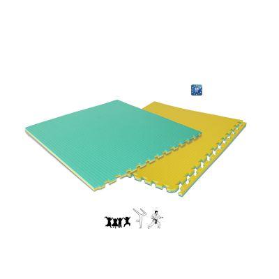 TAPPETO INCASTRO in EVA Colore GIALLO/ VERDE - Dimensioni 100x100x2 cm a norma UNI EN 71
