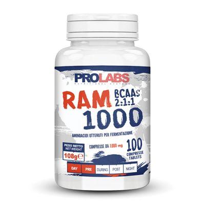 RAM 1000 Barattolo da 100 cpr - Integratore alimentare di aminoacidi ramificati (BCAA) con rapporto 2:1:1 bilanciato