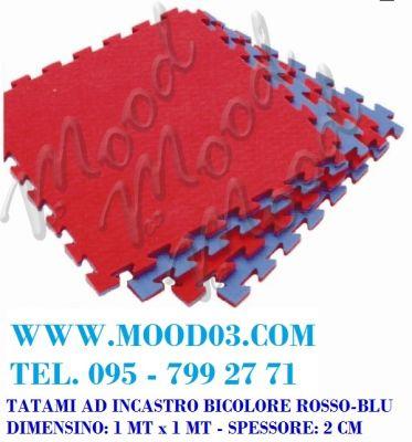 TAPPETO AD INCASTRO 100X100X2 CM in EVA - BICOLORE ROSSO-BLU; TATAMI ADATTO AL KARATE - miglior prezzo su WWW.MOOD03.COM