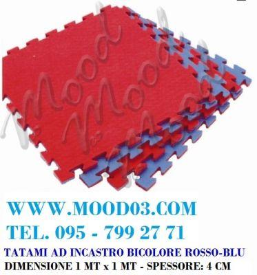 TAPPETO AD INCASTRO 100X100X4 CM in EVA - BICOLORE ROSSO-BLU; TATAMI ADATTO ALLO JUDO - miglior prezzo su WWW.MOOD03.COM
