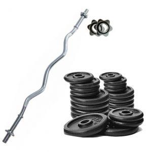 PROMO PACK - Bilanciere curvo da 120 cm con chiusura a vite + Pacco pesi di dischi in ghisa da 52 kg