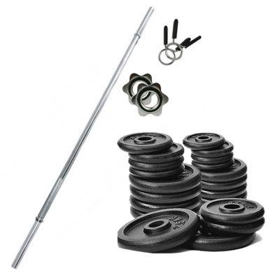 PROMO PACK - Bilanciere in acciaio cromato 150 cm con fermadischi inclusi + Pacco pesi di dischi in ghisa da 36 kg