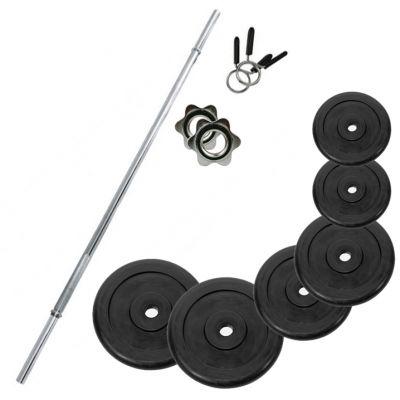 PROMO PACK - Bilanciere in acciaio cromato da 150 cm con fermadischi inclusi + Set ghisa gommata da 36 kg