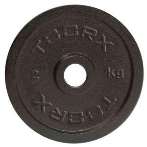 Disco in ghisa nera da 2 kg. Foro 25 mm adatto a bilancieri e manubri con misure diametro standard italiano da 25mm