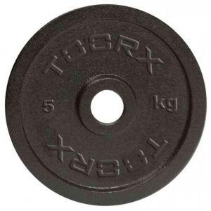 Disco in ghisa nera da 5 kg. Foro 25 mm adatto a bilancieri e manubri con misure diametro standard italiano da 25mm