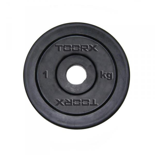 Disco in ghisa gommata da 1 kg. Foro 25 mm adatto a bilancieri e manubri con misure diametro standard italiano da 25mm