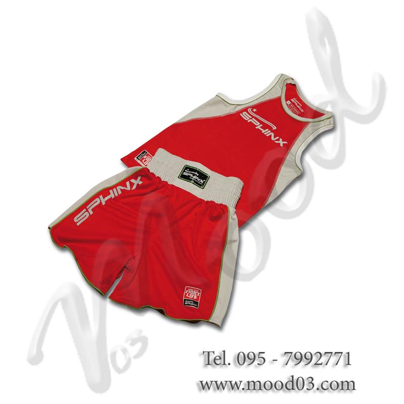 PRO BOXING SET Pantaloncino + Canotta da Pugilato PRO-SERIES - Misura L, colore ROSSO. Cod. BOS-SAB2-25