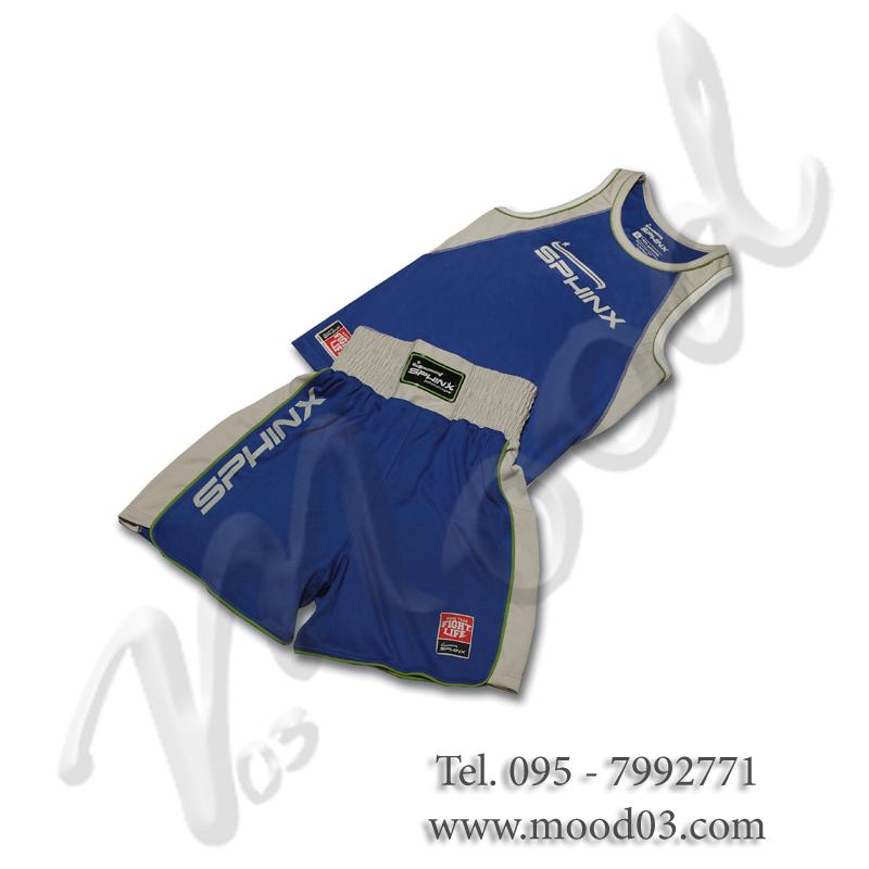 PRO BOXING SET Pantaloncino + Canotta da Pugilato PRO-SERIES - Misura S, colore BLU. Cod. BOS-SAB2-33