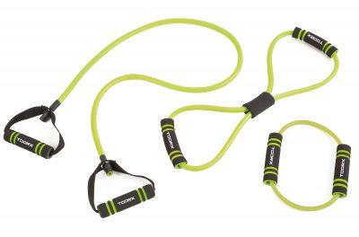 Set attrezzi elastici con impugnature soft touch e borsa di trasporto inclusa - 3 differenti livelli di resistenza