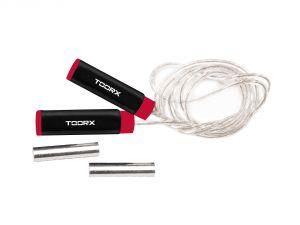 Corda da salto veloce professionale in acciaio con pesi estraibili 2x250gr, impugnatura soft touch