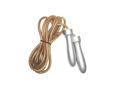 Corda da salto in pelle professionale con manopole light in alluminio, colore cuoio-silver