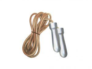 Corda da salto in pelle professionale con manopole heavy in acciaio cromato, colore cuoio-cromo