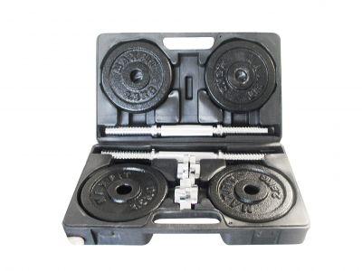 VALIGETTA 20 KG - Set con 2 manubri cromato con 2 coppie fermadischi a vite, 4 dischi da 2,5 kg e 4 dischi da 1,5 kg