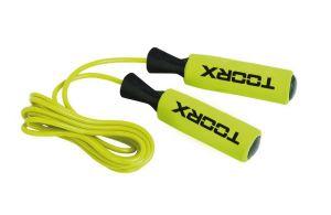 Corda da salto in PVC con impugnatura 'soft touch', colore verde lime-nero, con pesi removibili