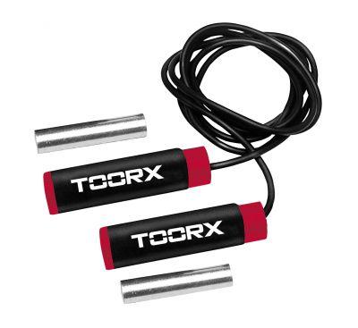 Corda da salto in PVC con pesi estraibili 2x250 gr, colore nero-rosso
