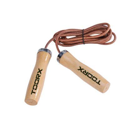 Corda da salto in pelle manopole in legno, colore cuoio-legno