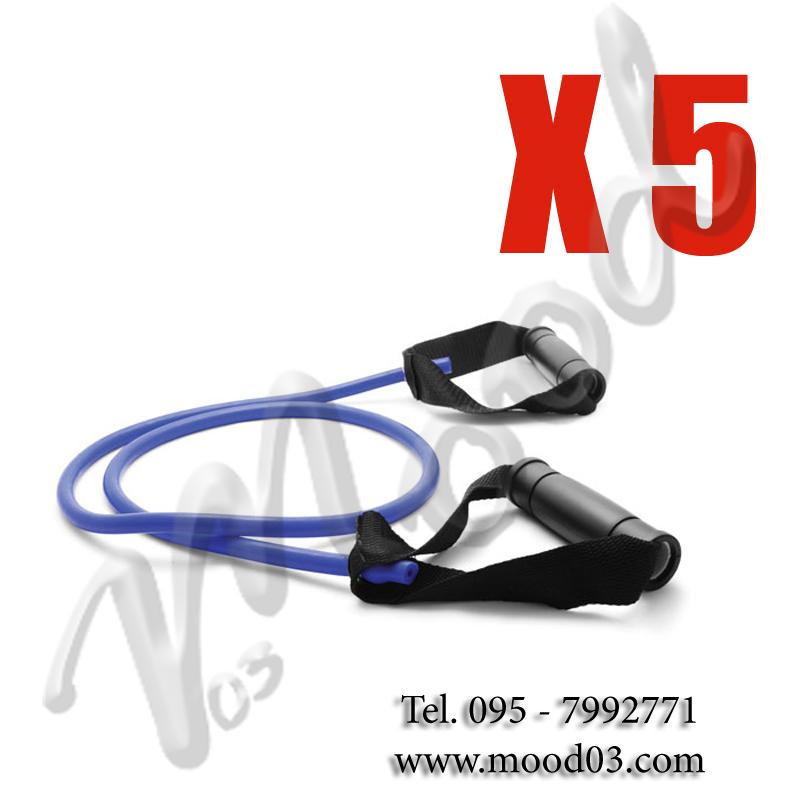 5X ELASTICI TUBOLARI CON MANIGLIE 140 CM A RESISTENZA MEDIA ideale per tonificare, per riabilitazione o stretching