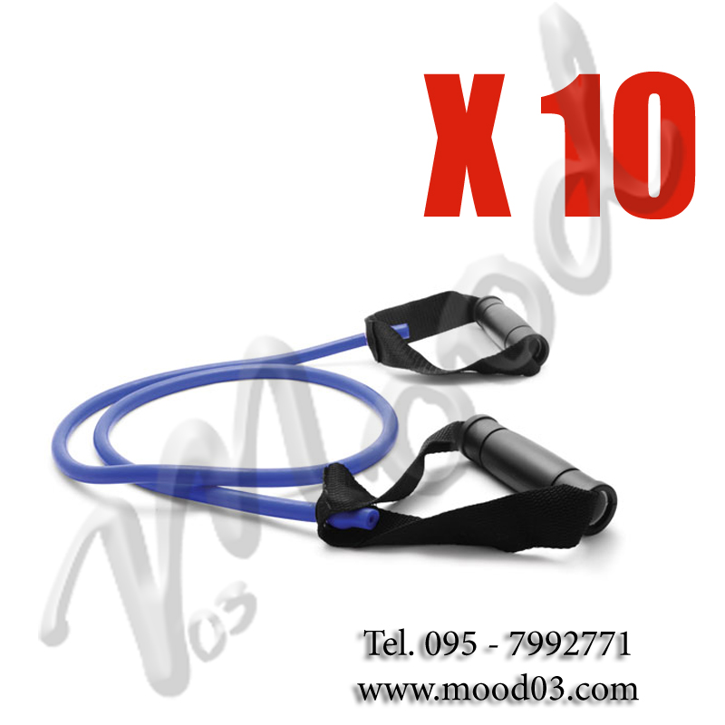 10X ELASTICI TUBOLARI CON MANIGLIE 140 CM A RESISTENZA MEDIA ideale per tonificare, per riabilitazione o stretching