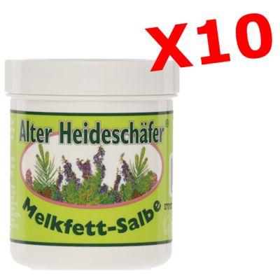 """10X ALTER HEIDESCHAFER MELKFETT-SALBE - """"PACCHETTO RISPARMIO"""" con 10 barattoli da 100 ml di creme tradizionali tedesche"""