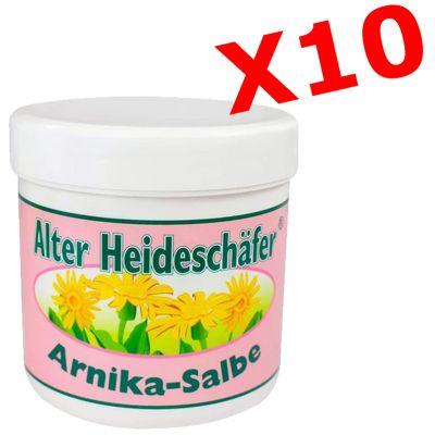 """10X ALTER HEIDESCHAFER ARNIKA-SALBE - """"PACCHETTO RISPARMIO"""" con 10 barattoli da 100ml di Pomate all' arnica"""