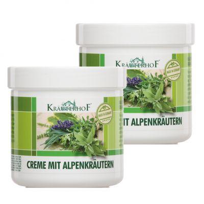 2X CREME MIT ALPENKRAUTERN - Set di 2 barattoli da 250 ml di Crema rinfrescante per piedi e gambe con erbe alpine