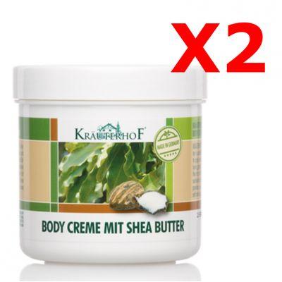 """2X BODY CREME MIT SHEA BUTTER - """"PACCHETTO RISPARMIO"""" con 2 barattoli da 250 ml di Crema corpo al burro di Shea"""