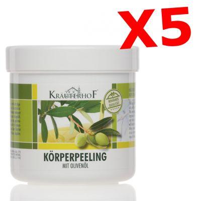 """5X KORPERPEELING MIT OLIVENOL - """"SET RISPARMIO"""" con 5 barattoli da 400g di Peeling Corpo all' olio d' oliva in barattolo"""