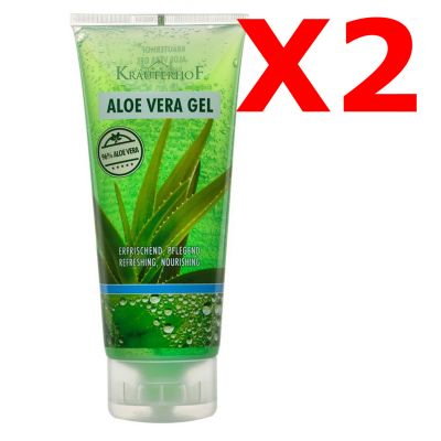 2X ALOE VERA GEL (96%) - SET RISPARMIO di 2 tubetti da 200 ml di Gel all' Aloe Vera ideale per escoriazioni e bruciature