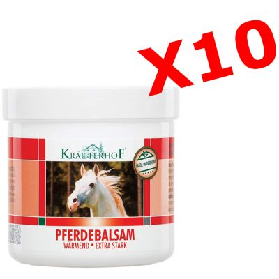 10x PFERDEBALSAM WÄRMEND EXTRA STARK - Set di 10 barattoli da 250 ml di Balsamo cavallo riscaldante extra-forte