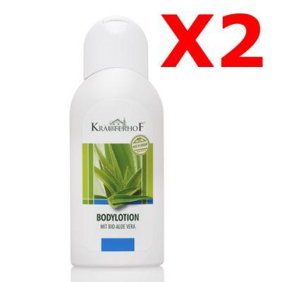 2X BODYLOTION MIT BIO ALOE VERA - KIT RISPARMIO con 2 confezioni da 250ml di Lozione Corpo con Aloe vera biologica