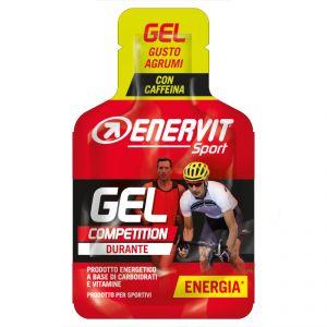 Enervit Sport Gel Competition mini-pack da 25 ml, gusto agrumi - Energetico liquido con carboidrati, vitamine e caffeina