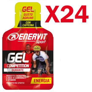 Enervit Sport Gel Competition conf 24 mini-pack da 25 ml, gusto agrumi - Energetico con carboidrati, vitamine e caffeina