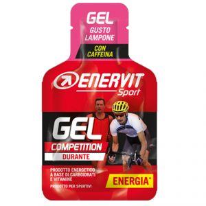 Enervit Sport Gel Competition mini-pack da 25 ml, gusto lampone - Energetico liquido con carboidrati vitamine e caffeina