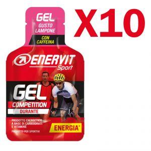 Enervit Sport Gel Competition conf 10 mini-pack da 25 ml, gusto lampone - Energetico con carboidrati vitamine e caffeina