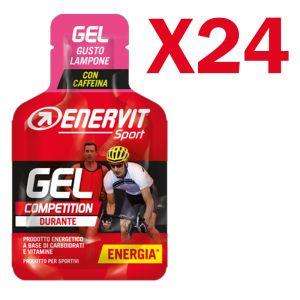 Enervit Sport Gel Competition conf 24 mini-pack da 25 ml, gusto lampone - Energetico con carboidrati vitamine e caffeina