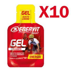 Enervit Sport Gel, conf 10 mini-pack da 25 ml, gusto limone - Energetico liquido con carboidrati e vitamine