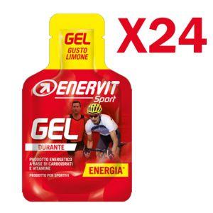Enervit Sport Gel, conf 24 mini-pack da 25 ml, gusto limone - Energetico liquido con carboidrati e vitamine