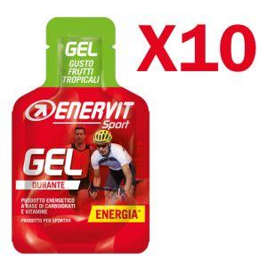 Enervit Sport Gel, conf 10 mini-pack da 25 ml, gusto frutti tropicali - Energetico liquido con carboidrati e vitamine