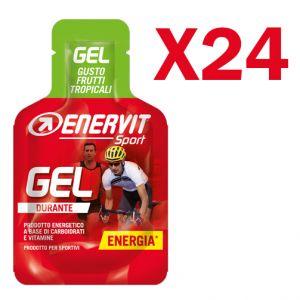 Enervit Sport Gel, conf 24 mini-pack da 25 ml, gusto frutti tropicali - Energetico liquido con carboidrati e vitamine