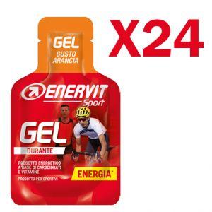 Enervit Sport Gel, conf 24 mini-pack da 25 ml, gusto arancia - Energetico liquido con carboidrati e vitamine