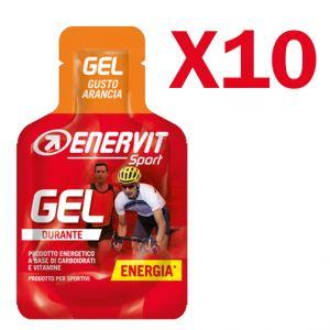 Enervit Sport Gel, conf 10 mini-pack da 25 ml, gusto arancia - Energetico liquido con carboidrati e vitamine